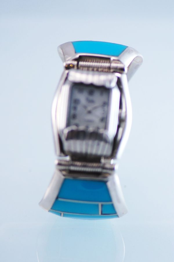 Navajo Inlaid Turquoise Watch Bracelet