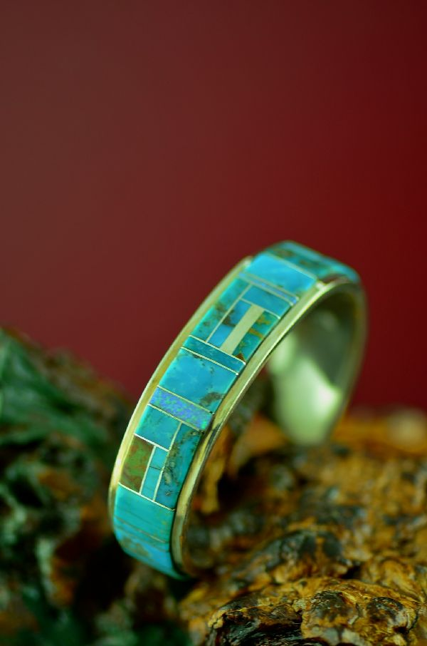 American Indian Inlaid Turquoise and Opal Bracelet