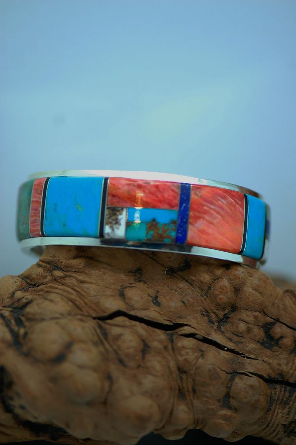 Exquisite Inlaid Sterling Silver Bracelet
