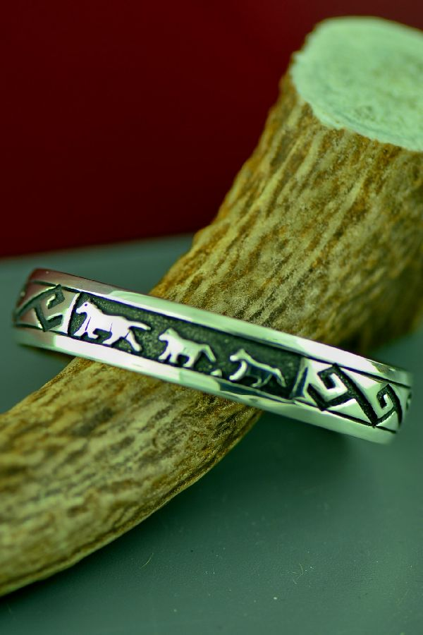 Navajo Sterling Silver Horse Bracelet by Tommy and Rosita Singer
