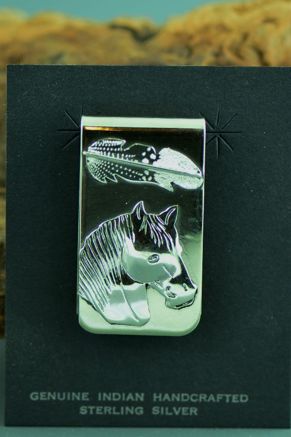 Sterling Silver Horse and Feather Money Clip