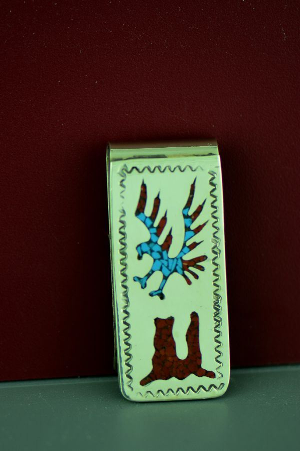Turquoise and Coral Eagle Money Clip