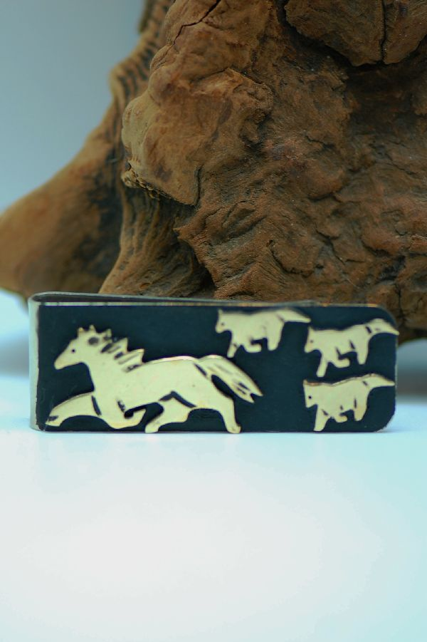 Gold Horse Money Clip Navajo