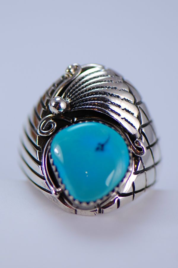 Exquisite Blue Ridge Turquoise Mans Ring