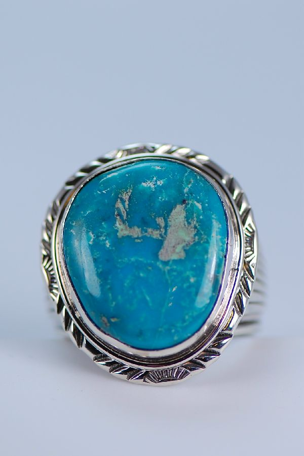 Natural Fox Turquoise Mans Ring