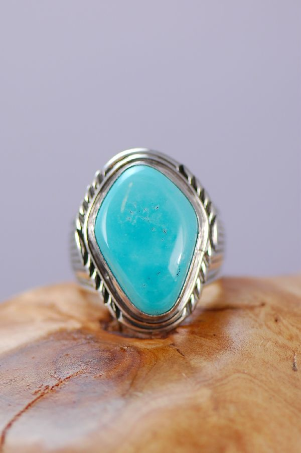 Mans Natural Fox Turquoise Ring