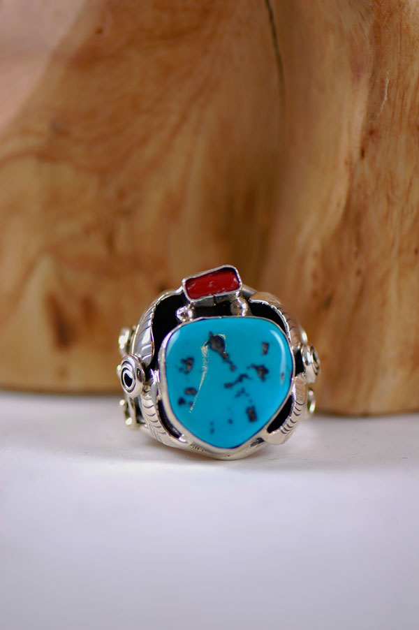 Mans Turquoise and Coral Rings