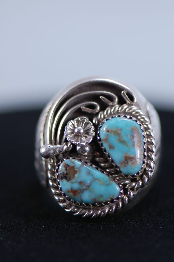 Navajo Turquoise Sterling Silver Man's Ring