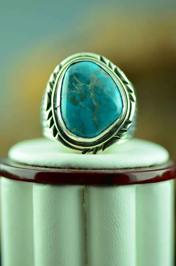 Native American Bisbee Turquoise Ring Size 9