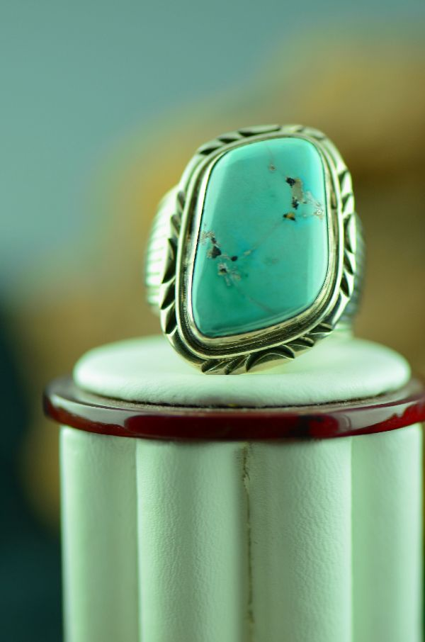 Native American Fox Turquoise Ring Size 12