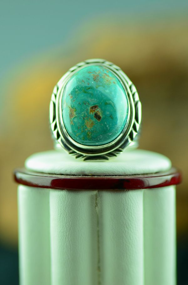 Native American Bisbee Turquoise Ring Size 10