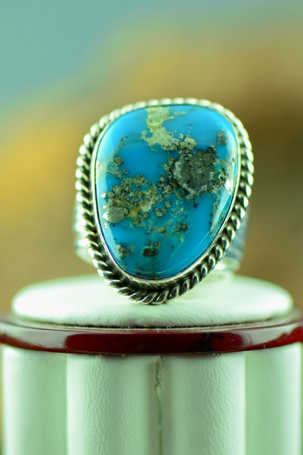 Blue Gem Turquoise Sterling Silver Ring Size 10