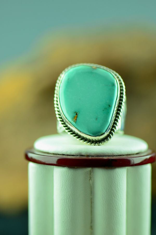 Native American Fox Turquoise Ring Size 10