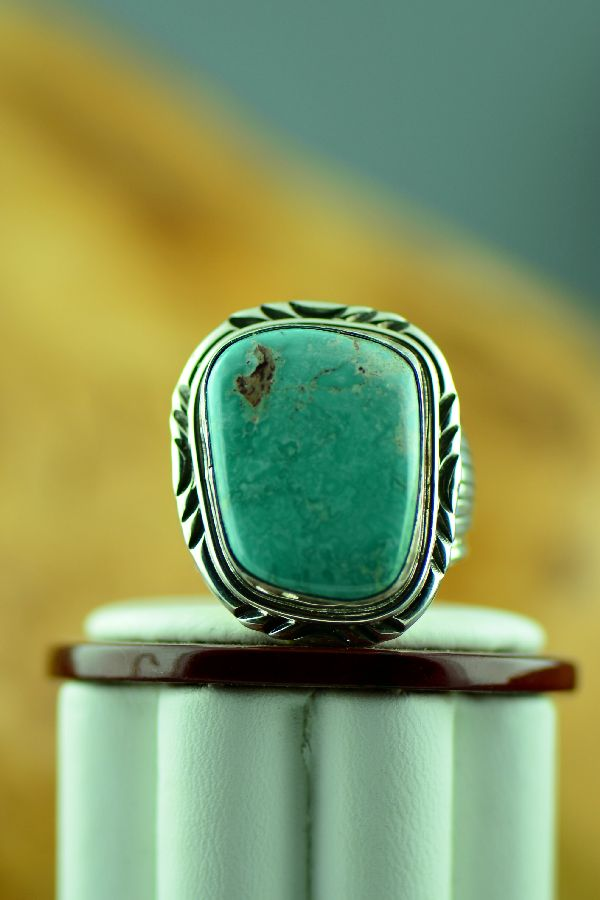 Navajo Natural Fox Turquoise Ring Size 11