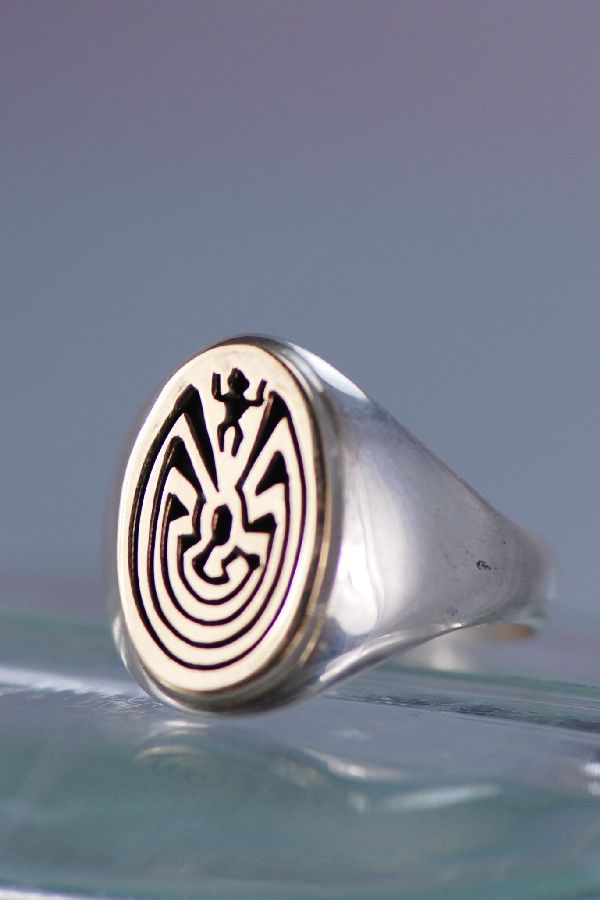 14kt gold and sterling man in the maze man s ring size 13