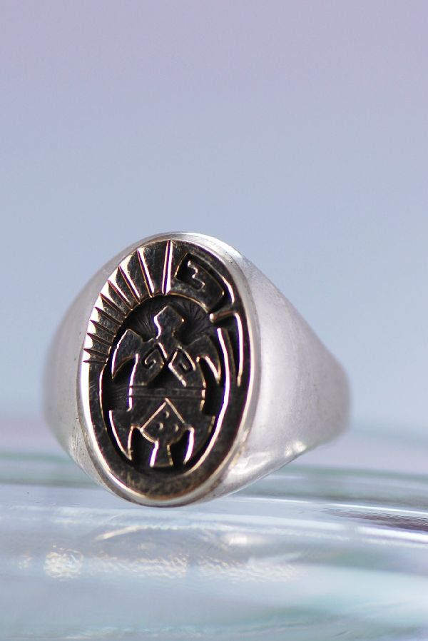 Name navajo 14kt gold and sterling turtle man s ring size 11