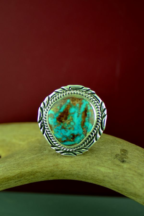 Mans Native American Bisbee Turquoise Ring