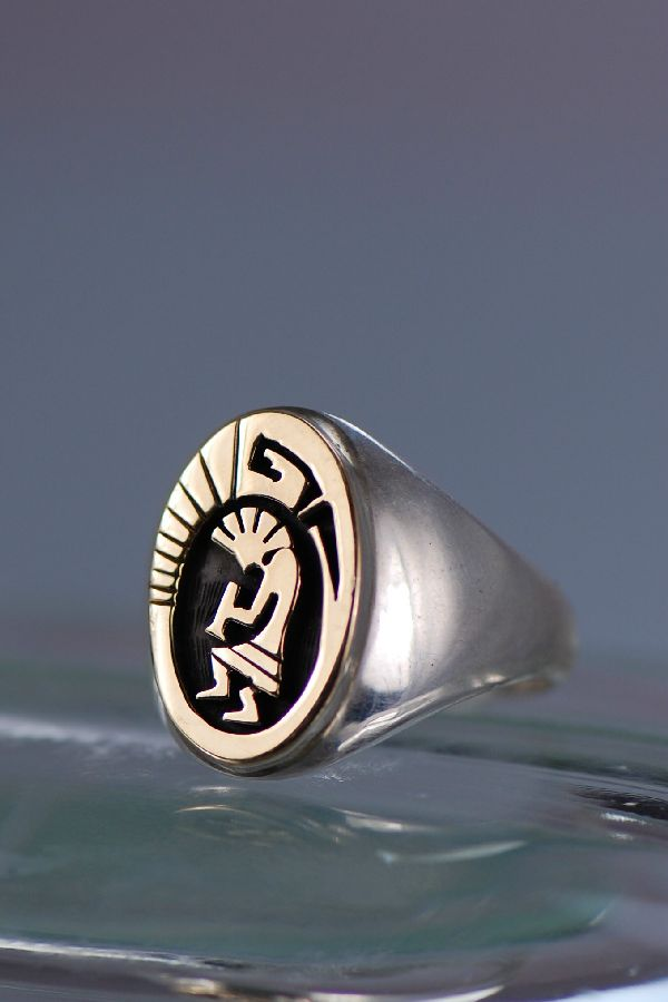 Navajo 14kt gold and sterling kokopelli man s ring size 11
