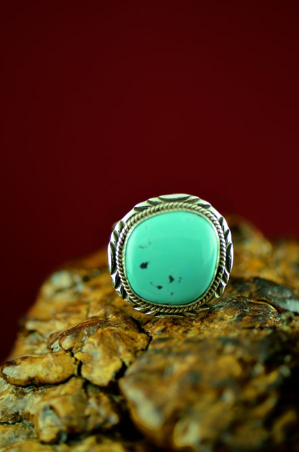Mans Navajo Blue Moon Turquoise Ring