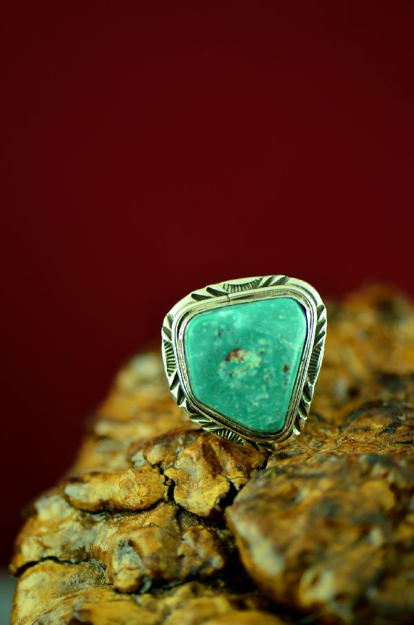 Mans Size 10 Turquoise Native American Ring