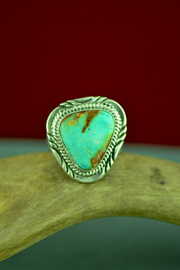 Mans Fox Turquoise Navajo Ring