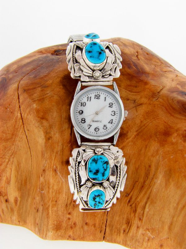 Sterling Silver Sleeping Beauty Turquoise Watch Tips by Les Baker