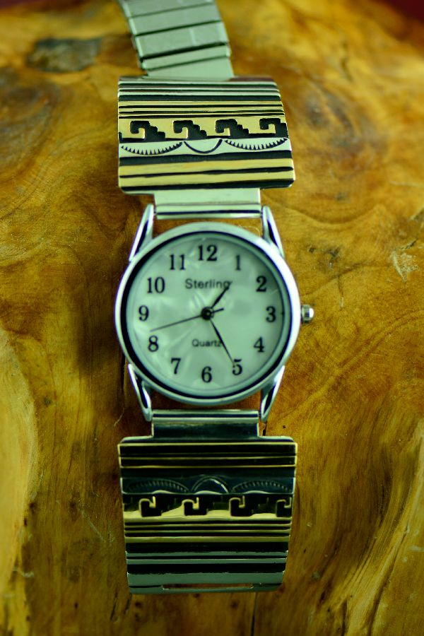 Navajo 12ktGF and Sterling Silver Water and Sun Symbol Watch Tips by the late Tommy Singer