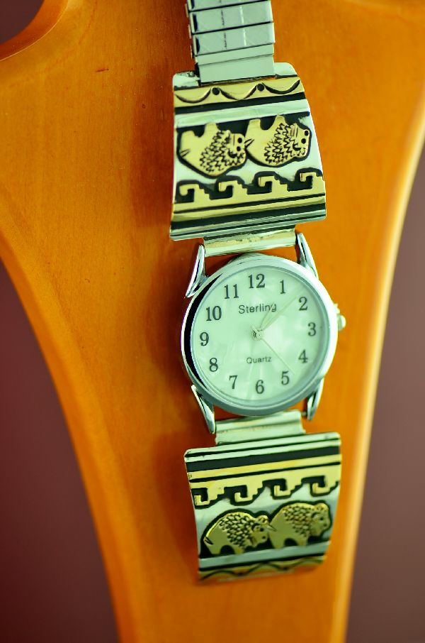 Navajo 12ktGF and Sterling Silver Buffalo and Water Symbol Watch Tips by the Tommy and Rosita Singer