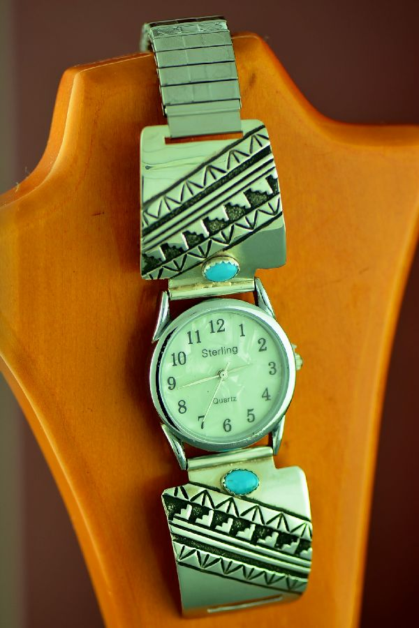 Navajo Sterling Silver Kingman Turquoise and Mountain Symbol Watch Tips Rosita Singer