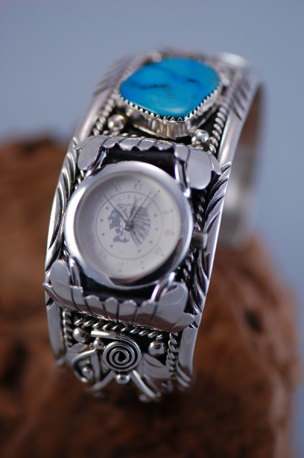 Navajo Sterling Silver Turquoise Watch Bracelet