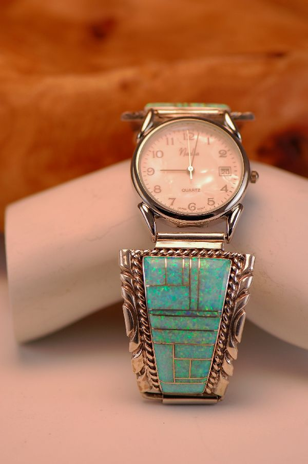 Navajo Lab Opal Sterling Silver Watch Band