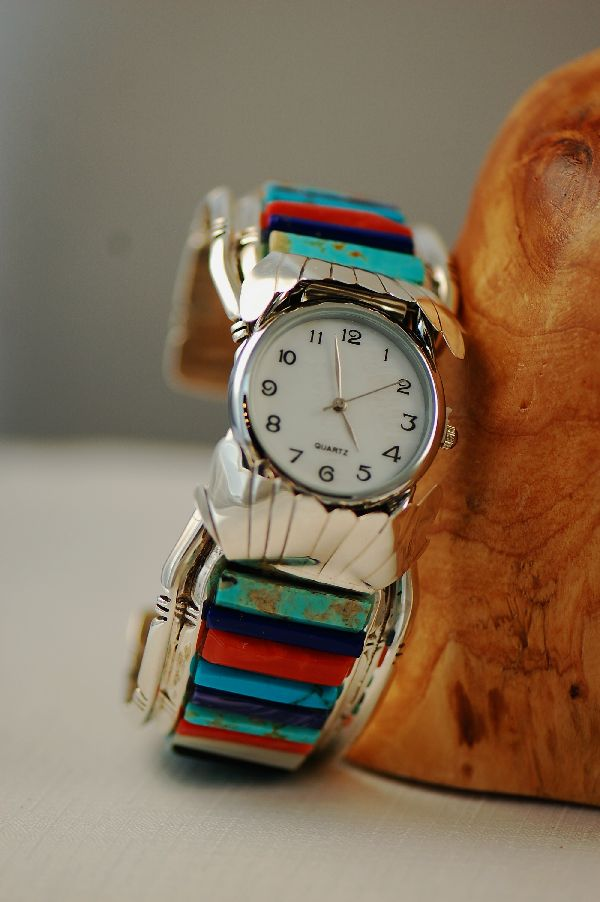 Navajo – Exquisite Sterling Silver Corn Row Multi-Stone Inlaid Watch Bracelet by Bobby Piaso JR.