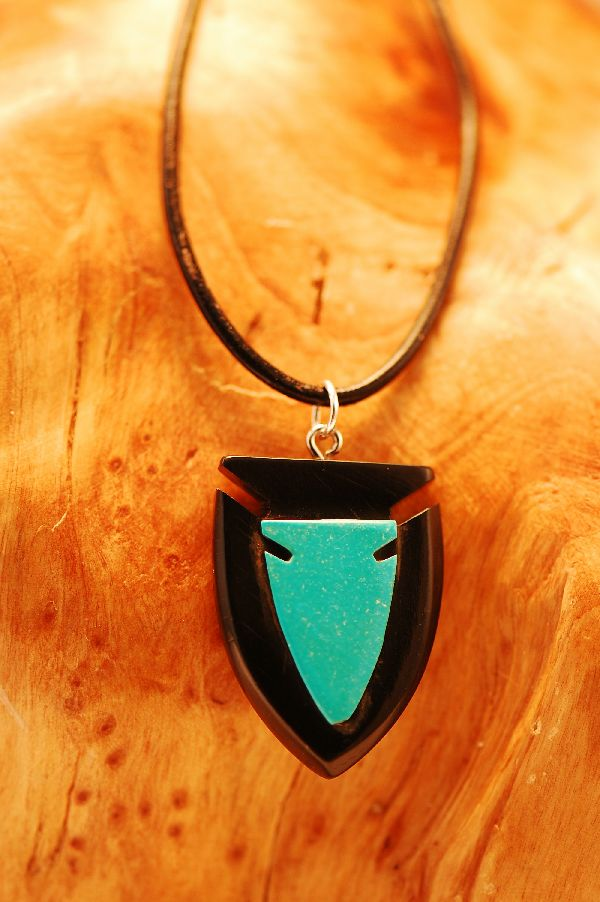 Hand Carved Double Arrowhead Pendant