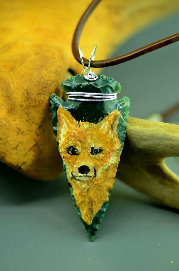 Native American Red Fox Arrowhead Pendant