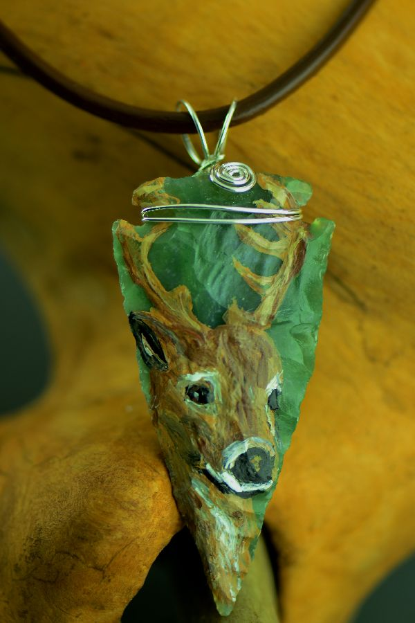 Knapped Hand Painted Deer Arrowhead Pendant