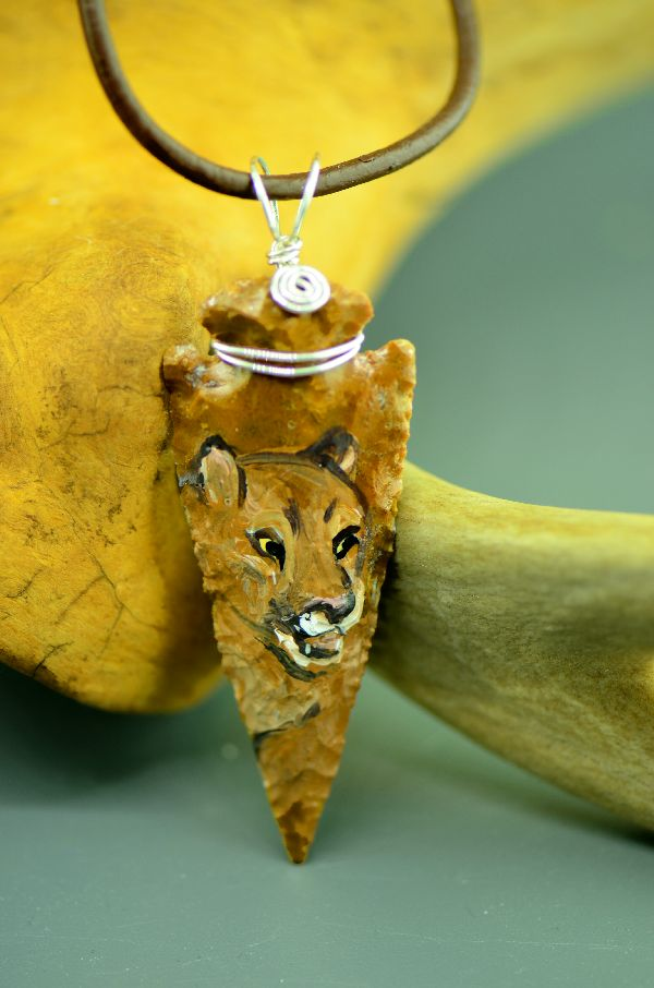Mountain Lion Arrowhead Pendant