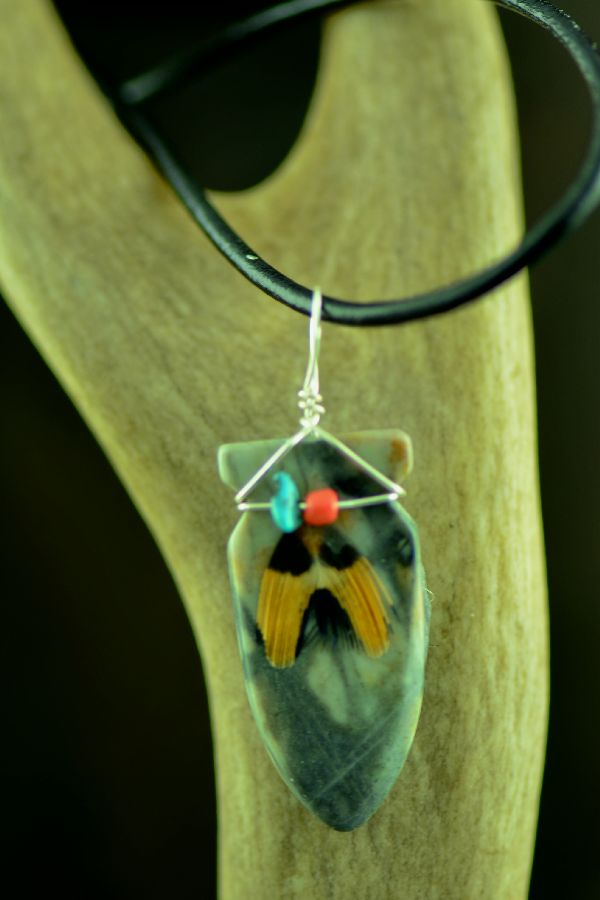 Picasso Marble American Indian Arrowhead Pendant