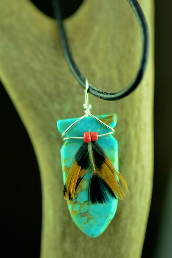 Native American Turquoise Carved Arrowhead Pendant