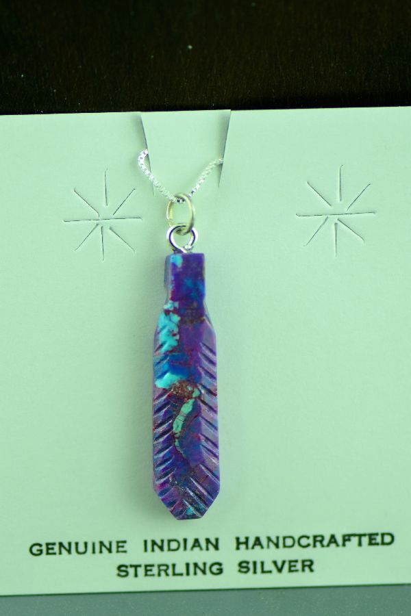Navajo Mohave Purple Turquoise Feather Pendants
