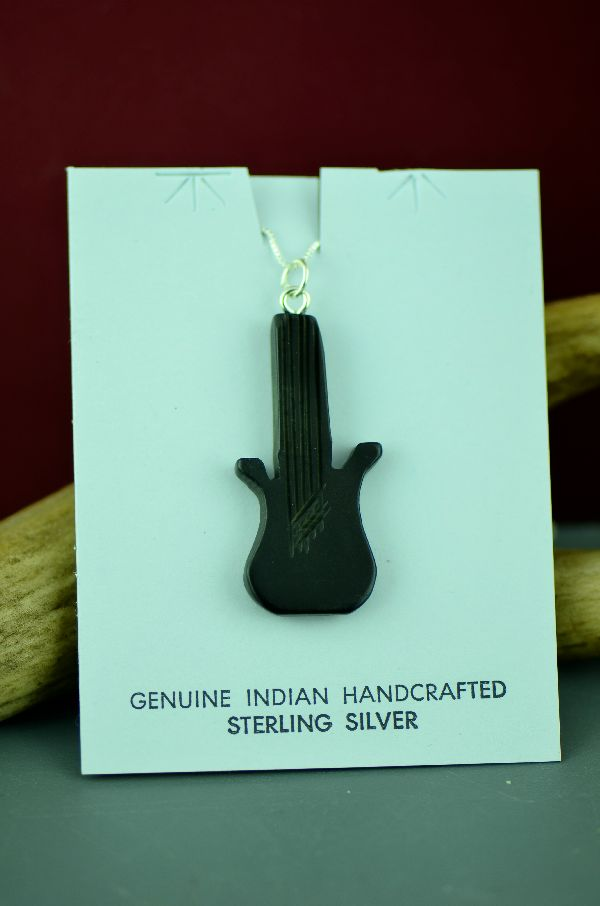 Native American Jet Guitar Pendant
