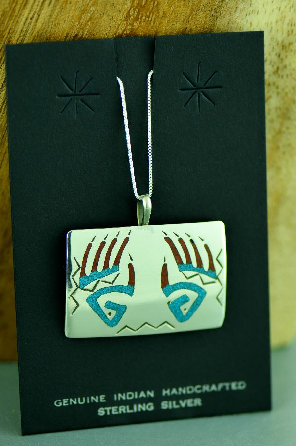 Kee Begay Bear Paw Turquoise and Coral Pendant