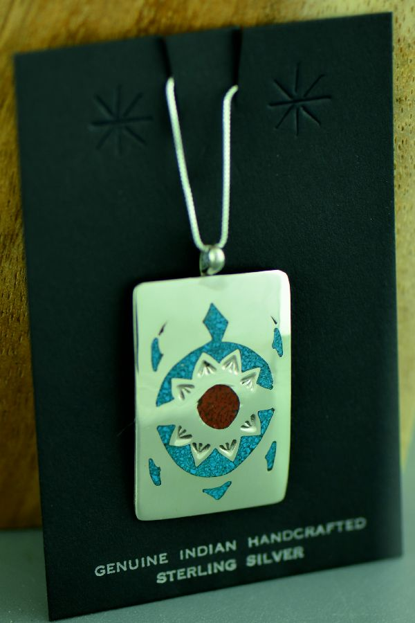 Authentic Navajo Turquoise and Coral Turtle Pendant