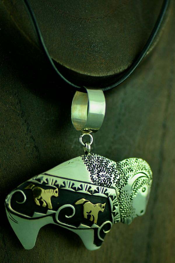 Rosita Singer Buffalo and Horse Pendant
