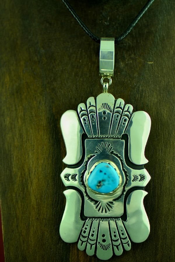 Authentic Native American Kingman Turquoise Pendant