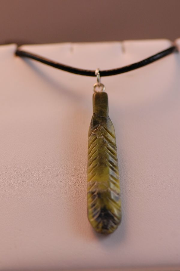 Salt River Canyon Serpentine Feather Pendant