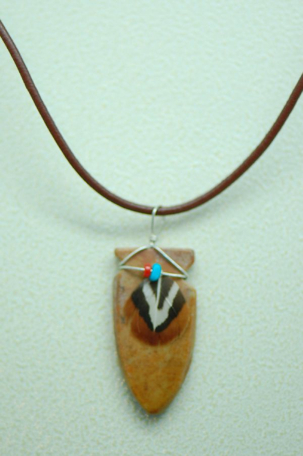 Marble Picasso Arrowhead Pendant