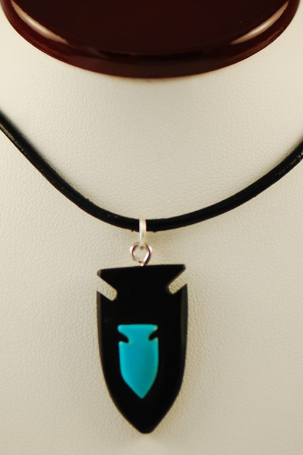 Jet and Turquoise Arrowhead Pendant