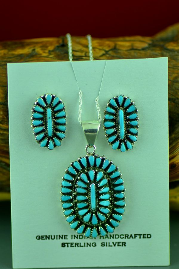 Native American Turquoise Earrings and Pendant