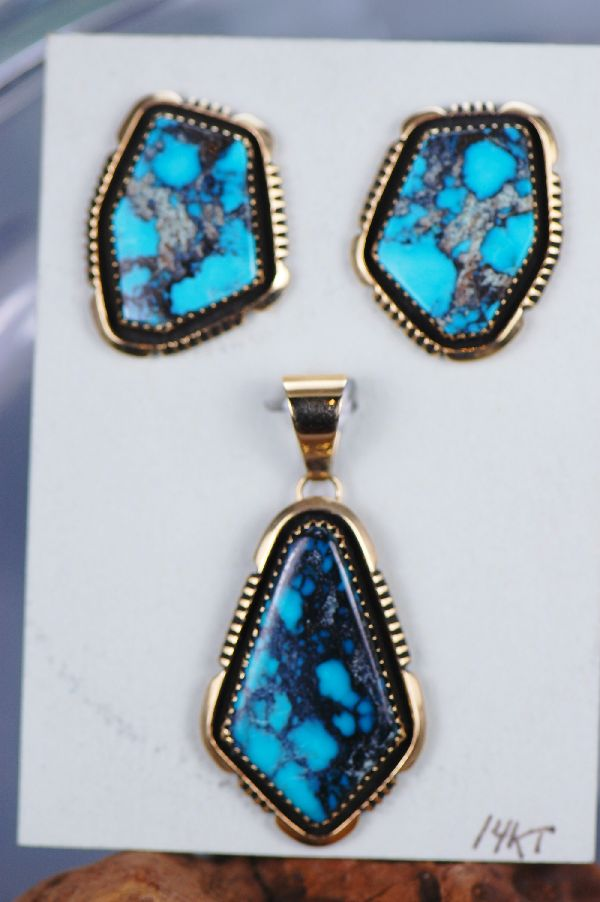 Gold Turquoise Pendant and Earrings