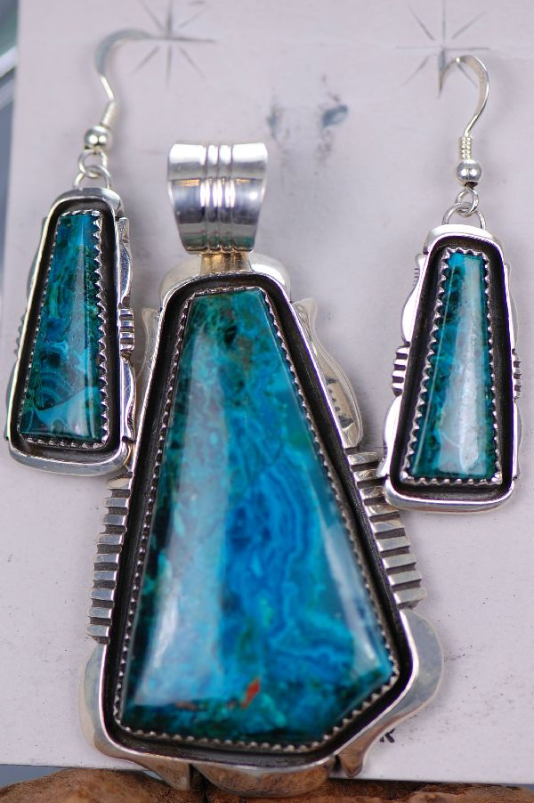 Navajo Chryscolla Pendant and Earring